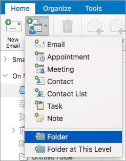 Memperlihatkan memilih Folder dari daftar item baru.