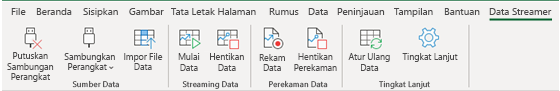 Memperlihatkan Pita Data Streamer dengan Putuskan Perangkat dan Sambungkan Perangkat diaktifkan