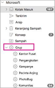 Grup yang tercantum dalam panel folder Outlook 2016 untuk Mac