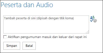 Cuplikan layar kotak dialog Peserta dan Audio