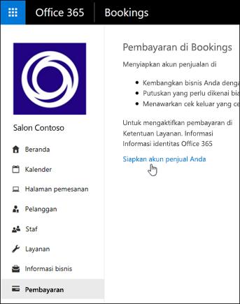 Cuplikan layar: Pilih untuk menyetel akun Dagang dan mengelola pembayaran di Pemesanan