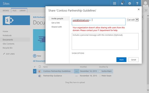 Jika pengguna berusaha untuk berbagi dokumen dengan alamat email yang retricted, mereka willl menerima kesalahan ini.
