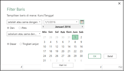 Dukungan Pemilih Tanggal Excel Power BI untuk menginput nilai Tanggal di dialog Kolom Bersyarat dan Filter Baris