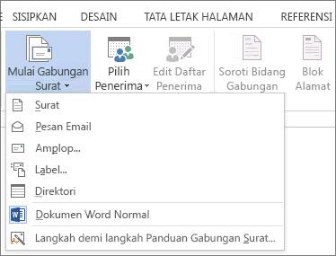 Cuplikan layar tab Surat di Word, memperlihatkan perintah Mulai Gabungan Surat dan daftar opsi yang tersedia untuk tipe gabungan yang ingin Anda jalankan.