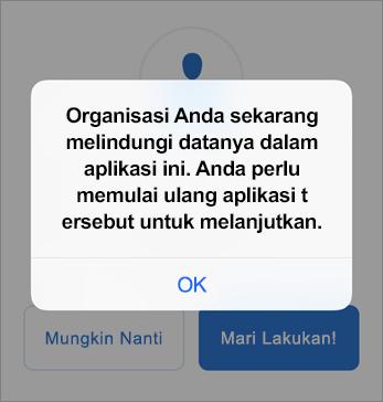 Cuplikan layar yang memperlihatkan bahwa organisasi Anda kini melindungi aplikasi Outlook