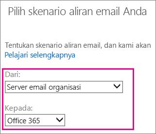 Pilih dari server email organisasi Anda ke Office 365