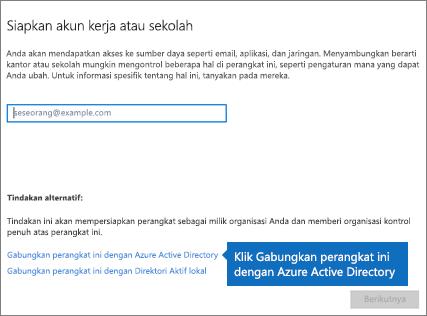 Klik Gabungkan perangkat ini ke Azure Active Directory
