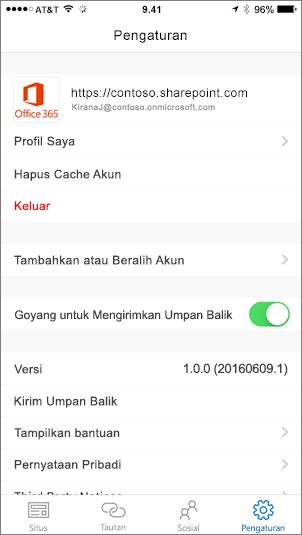 Cuplikan layar sebagian yang memperlihatkan tab pengaturan aplikasi SharePoint