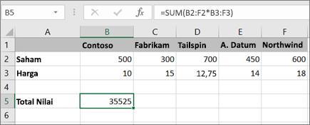 Contoh rumus array yang menghitung satu hasil