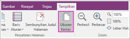 Cuplikan layar tombol Ukuran Kertas di OneNote 2016.