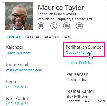 Link Tampilkan Sumber Outlook di kartu kontak