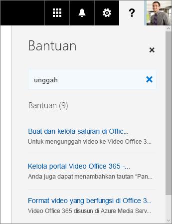 Cuplikan layar panel Bantuan Video Office 365 yang menampilkan hasil pencarian untuk Unggah.