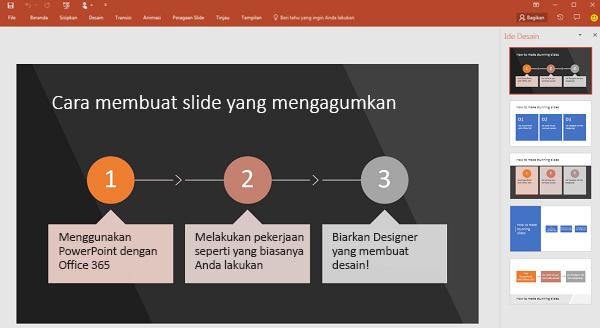 PowerPoint Designer mengubah teks yang berorientasi pada proses menjadi grafik.