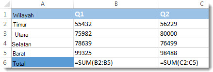 Rumus terlihat di lembar kerja Excel