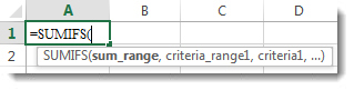 Menggunakan Rumus LengkapiOtomatis untuk memasukkan fungsi SUMIFS