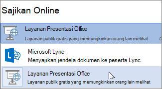 Menyajikan secara online menggunakan Office Presentation Service
