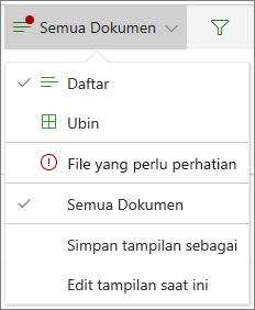 File yang memerlukan perhatian di bawah menu opsi tampilan