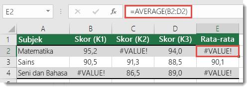 Kesalahan #VALUE! kesalahan dalam rata-rata