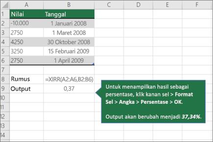 Contoh fungsi XIRR