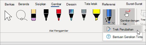 Pilih Lacak perubahan untuk pena editor tinta.
