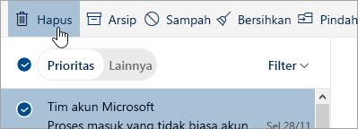 Cuplikan layar tombol Hapus