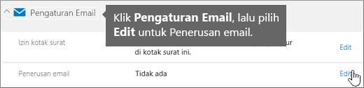 Pilih Pengaturan Email dan lalu pilih Edit.