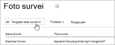Halaman survei dengan respons survei ini disorot