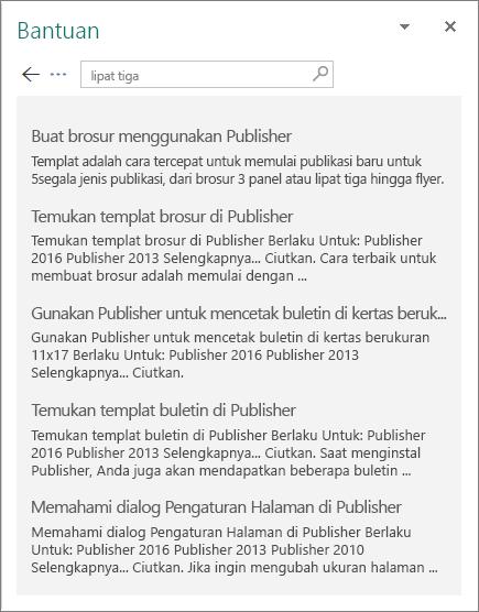 Cuplikan layar panel Bantuan Publisher 2016 yang menampilkan hasil pencarian untuk Brosur lipat tiga.
