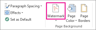 Perintah Marka Air di Word 2013. Pada tab Desain, klik Marka Air.