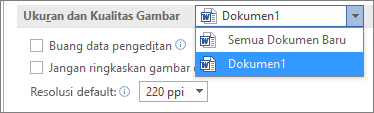 Mengonfigurasi cara Office akan mengompresi gambar Anda untuk menyeimbangkan ukuran dan kualitas file