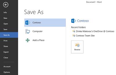 Layar Simpan memperlihatkan OneDrive for Business dan situs SharePoint yang ditambahkan sebagai Tempat