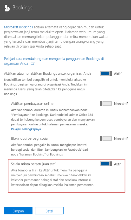 Cuplikan layar: Pilih opsi ini untuk mengharuskan pengguna persetujuan sebelum mereka dapat ditambahkan ke halaman terakhir