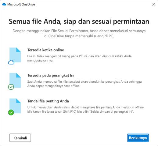 Layar file pada permintaan dalam panduan Selamat datang di OneDrive