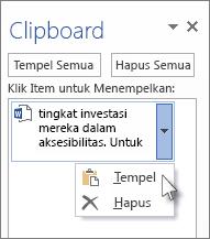 Menempelkan item tunggal dari Clipboard