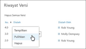 Pilih 'Pulihkan' dari menu turun bawah untuk versi dokumen yang dipilih