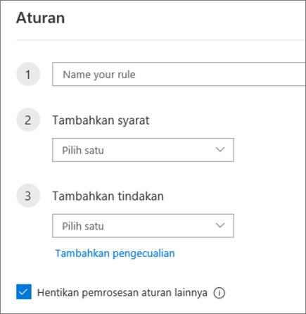 Membuat aturan baru dalam Outlook di web