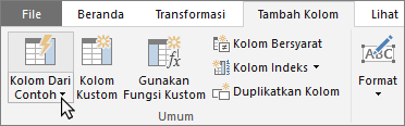 Memperlihatkan tombol Kolom Dari Contoh di tab Tambahkan Kolom Editor Kueri