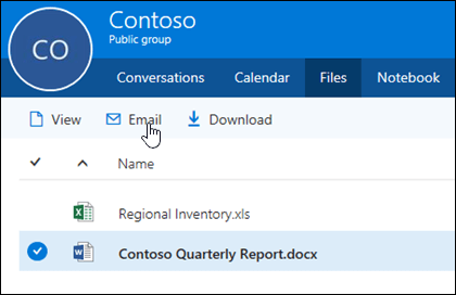 Pilih file untuk mengaktifkan tombol untuk menampilkan, email, atau mengunduh.