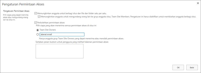 Cuplikan layar kotak dialog Permintaan Akses