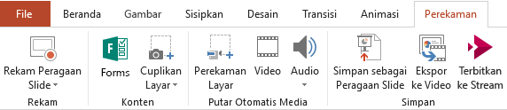 Memperlihatkan tab rekaman pada pita di PowerPoint