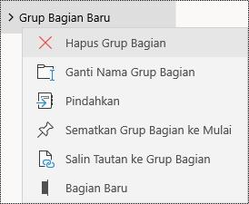 Menghapus grup bagian di aplikasi OneNote untuk Windows 10