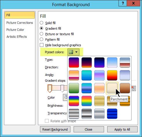 Untuk menggunakan gradien prasetel, pilih Warna Prasetel, kemudian pilih sebuah opsi.