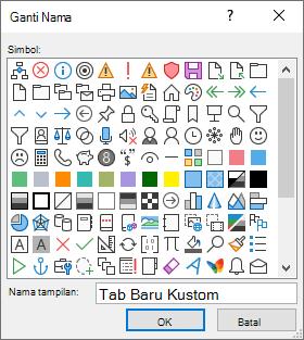 Mengganti nama tab, grup, atau perintah dan menambahkan ikon