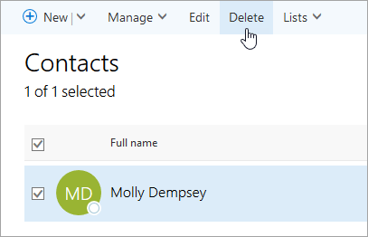 Cuplikan layar tombol Hapus pada halaman orang.