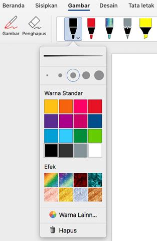 Opsi warna dan ketebalan untuk pena di Galeri pena Office di tab gambar