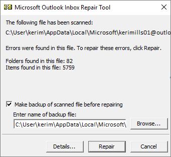 Memperlihatkan hasil file data Outlook .pst yang dipindai menggunakan alat Microsoft Inbox Repair, SCANPST.EXE