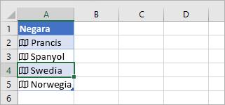 Sel data tertaut dipilih dalam tabel