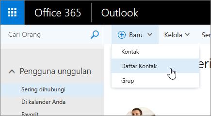 Perintah cuplikan layar baru, dengan daftar kontak yang dipilih.