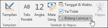 Cuplikan layar grup Tambahkan & Hapus di tab pita Bidang.