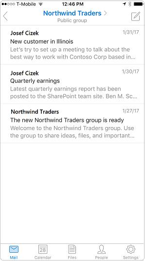 Tampilan percakapan di aplikasi seluler Outlook